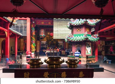 KUALA LUMPUR, MALAYSIA 07 OCTOBER 2017 - Guan Di Temple is a 121 year-old Taoist temple located along Jalan Tun HS Lee. An easily recognisable building with a bright orange façade.