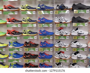 Kuala Lumpur, Malaysia - 08 January 2019: Row of sports shoes on display in local sports outlet