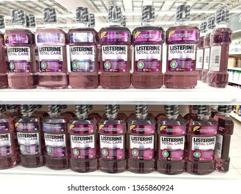 Kuala Lumpur, Malaysia - 09 April 2019 : Selection of LISTERINE product displayed at supermarket. Listerine is an American brand of antiseptic mouthwash product. - Image