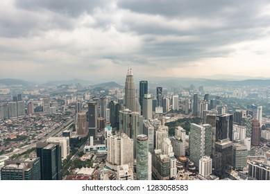 Kuala Lumpur / Malaysia - 09/01/2018: Up KL Tower Landscape Petronas Tower Kuala Lumpur Horizontal Photo Day Skyline