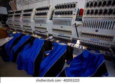 KUALA LUMPUR, MALAYSIA 1 APRIL 2016 : Close up of industrial embroidery machine.