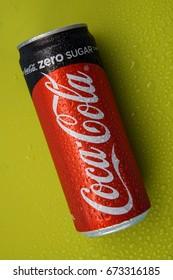 KUALA LUMPUR, MALAYSIA - 1 April 2016 -  Coca cola free sugar isolated on  color background.