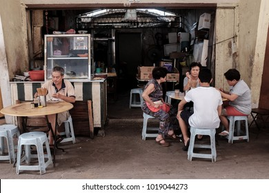 Kuala Lumpur, Malaysia 1 Feb 2018 : Chinese community seen at old coffee shop at Chow Kit Market in Kuala Lumpur. This historical market will be demolish to give way for a new development next year.