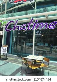 Kuala Lumpur, Malaysia - 10 July 2018 : View of franchise CHATIME Original bubble drink shop at shopping mall