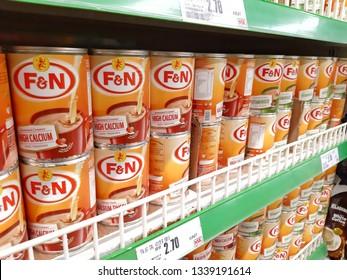 Kuala Lumpur, Malaysia - 10 March 2019 : Selection canned milk sweet creamer brand F&N on supermarket.