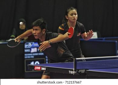 KUALA LUMPUR, MALAYSIA - 10 SEPTEMBER, 2017 -  Table tennis athletes are fighting in the SEA Games Kuala Lumpur 2017 at the Malaysia International Trade and Exhibition Center (MiTEC) Kuala Lumpur