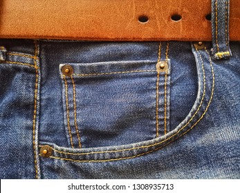 Kuala Lumpur, Malaysia - 100218: Close up  of Levi's denim jeans. Levi's Strauss is a world famous American clothing company.