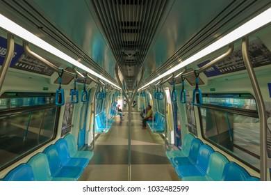 KUALA LUMPUR, MALAYSIA 11 JANUARY 2017 : Commuters on Mass Rapid Transit (MRT) train. MRT is the latest public transportation system. MRT is a transportation for future generation.