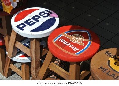 KUALA LUMPUR , MALAYSIA : 11 SEPTEMBER 2017 : The mini chair use brand Coca Cola, Pepsi, Hard Rock Cafe and more for sale for it's fan.