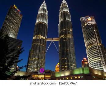 Kuala Lumpur, Malaysia, 11th August 2018 -  Majestic view of KLCC in the night. A view of Malaysia Petronas Twin Tower or KLCC from across the park of the building