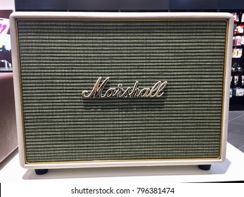Kuala Lumpur, Malaysia - 11th January 2018: Marshall bluetooth amp speaker on display in the music store. Marshall is the iconic brands on the music industry.
