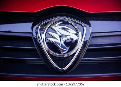 Kuala Lumpur, Malaysia- 12 May 2018 ; Photo of Proton saga logos. Proton Saga is a Malaysian car manufactured.