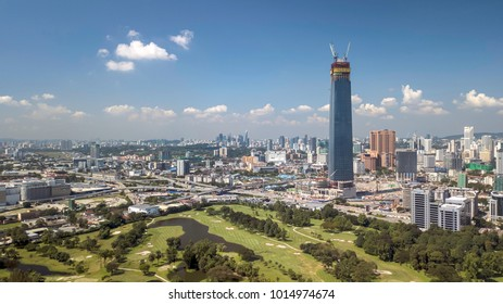 Kuala Lumpur, Malaysia - 1/2/2018 : Aerial panorama view of Kuala Lumpur, where the future iconic building, The Exchange 106 Tower is under construction and planned to have finish construction in 2018