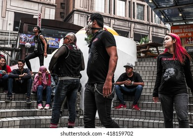 KUALA LUMPUR, MALAYSIA 13 APRIL 2016 : Group of teenagers dressed in punk and skinhead fashion seen at Bukit Bintang shopping area.