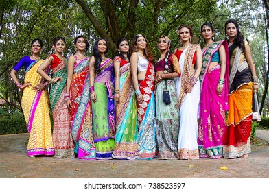 KUALA LUMPUR, MALAYSIA - 13 APRIL 2014: A group of Indian girls responded to a government call to wear one local traditional attire to introduce a variety of Malaysian cultures.