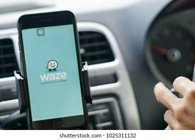 Kuala Lumpur, Malaysia - 13th January 2018: Globally famous GPS application WAZE running on the iPhone 6. Malaysia has the highest number of Waze user in South East Asia.