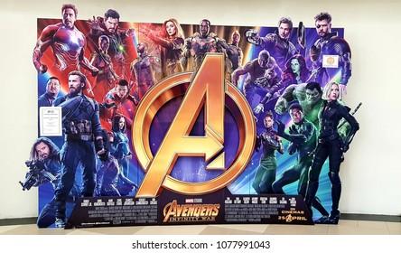 KUALA LUMPUR, MALAYSIA - 15 APRIL, 2018 : Avengers Infinity War poster displayed; The Avengers, is a American superhero film based on the Marvel Comics superhero team produced by Marvel Studios
