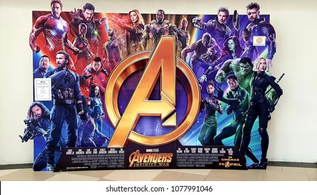KUALA LUMPUR, MALAYSIA - 15 APRIL, 2018 : Avengers Infinity War poster displayed; The Avengers, is a American superhero film based on the Marvel Comics superhero team produced by Marvel Studios