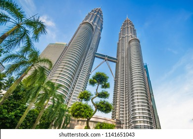 KUALA LUMPUR, MALAYSIA, 15 March 2018 : The Petronas Twin Towers are the tallest twin buildings in the world , bottom-up view