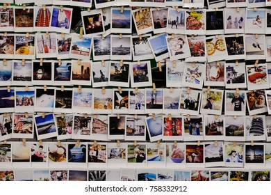 Kuala Lumpur, Malaysia 15 November 2017 : Polaroids photographs of travel places, food and people of Malaysia displays for exhibition in shopping complex.