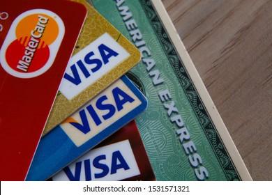 Kuala Lumpur, Malaysia : 15 October 2019 - Close up Credit Card, Visa, Master Card, American Express