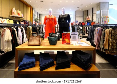 KUALA LUMPUR, MALAYSIA - 15th February 2021:  The entrance picture of a women's cloth shop inside a shopping mall.