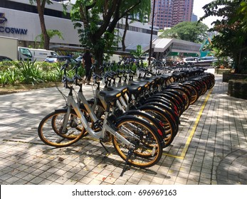 Kuala Lumpur, Malaysia - 16 August 2016: oBike, a bicycle sharing service or rental is a new service provided to a public in Kuala Lumpur using mobile phone to qr code application for ride bicycle.