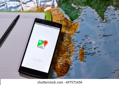 KUALA LUMPUR, MALAYSIA -16 AUGUST 2017: Mobile apps make traveling so much easier. Google Maps app makes navigating your world faster and easier.