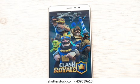 Kuala Lumpur, Malaysia - 16 June 2016: Clash Royale apps on smartphone. Clash Royale is freemium mobile strategy game developed by Supercell. The game combines collectible card games and tower defense