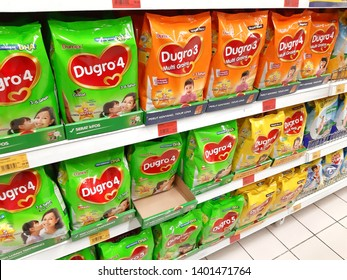 Kuala Lumpur, Malaysia - 16 May 2019 : View of various packages of kids instant milk powder Brandon DUGRO on the supermarket shelves.