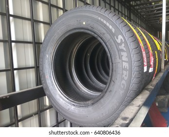 KUALA LUMPUR , MALAYSIA - 16th May 2017 : New tyres for sell in store