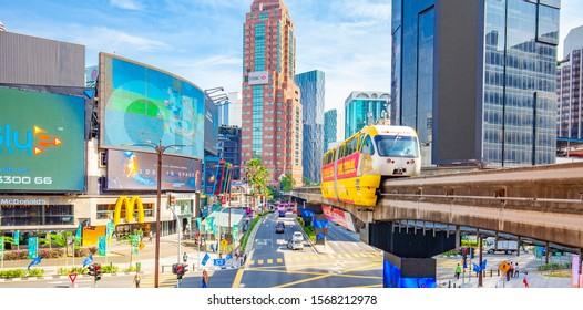 KUALA LUMPUR, MALAYSIA - 17 April 2019: Kuala Lumpur city skyline and skyscrapers