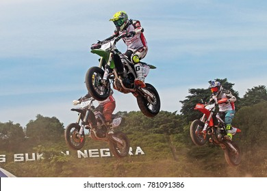 KUALA LUMPUR MALAYSIA -17 DECEMBER 2017: Motor  riders  in action at the grand finale of the FIM Supermoto Asia Championship held at Stadium Bukit Jalil, Malaysia