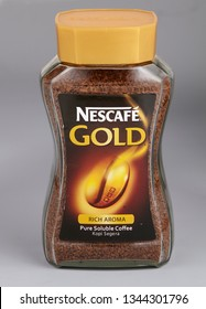 kuala lumpur malaysia 17th May 2013 Nescafe gold 200g isolated on gray background. Nescafe is a brand of instant powdered coffee made by Nestle