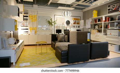 Kuala Lumpur, Malaysia – 18 DECEMBER 2017: Interior of sofa and cushion area showcase, large IKEA store with a wide range of products in The Curve, Damansara, Kuala Lumpur.
