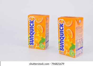 Kuala Lumpur , Malaysia - 18 January 2018 : Sunquick liquid in box packaging flavor orange isolated white background. Sunquick is a product of CO-RO A/S a Danish compa