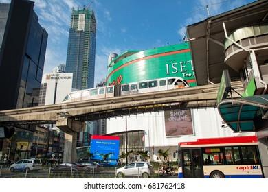 KUALA LUMPUR, MALAYSIA - 18th July 2017: Train of KL Monorail approaching the Bukit Bintang Station