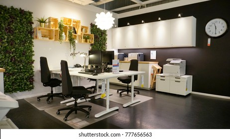 Kuala Lumpur, Malaysia – 19 DECEMBER 2017: Interior of office and business showcase, large IKEA store with a wide range of products in The Curve, Damansara, Kuala Lumpur.