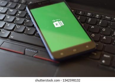 Kuala Lumpur, Malaysia. 19 March 2019 - Close up Microsoft Exel Application on Smartphone Display.