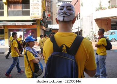 Kuala Lumpur, Malaysia 19 November 2016 : Yellow shirt supporter of Bersih 5 Rally for Free Fair Elections. Bersih organised Rallies 19 November 2016 in cities around Malaysia