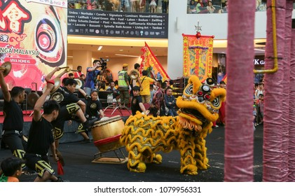 KUALA LUMPUR, MALAYSIA - 19 OCT 2014 : Lion dance orchestra band at VIVA HOME shopping mall in Kuala Lumpur, Malaysia.