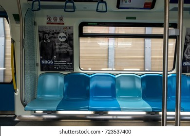 Kuala Lumpur, Malaysia – 19 SEPTEMBER, 2017 : The views of the no people who are using Malaysia MRT (Mass Rapid Transit) train and the modern interiors inside the MRT.