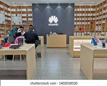 Kuala Lumpur, Malaysia - 19/5/2019 : A Huawei's outlet in AEON shopping complex.  Huawei Technologies Ltd is a Chinese multinational telecommunications equipment and consumer electronics manufacturer