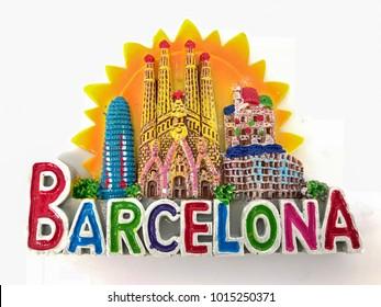 Kuala Lumpur, Malaysia, 1st February 2018; Fridge magnet from around the world - Barcelona, Spain.