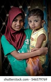 Kuala Lumpur, Malaysia - 1st January 2017 : Two Rohingya Children at the Rohingya School of Orphans