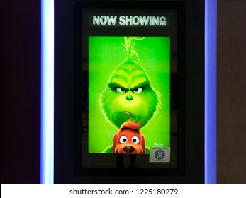 Kuala Lumpur, Malaysia, 1st November 2018 - Beautiful standee of a movie The Grinch display at cinema theater.