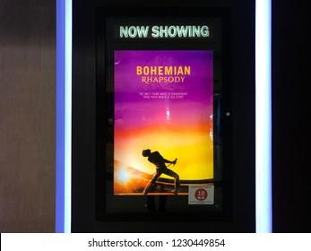 Kuala Lumpur, Malaysia, 1st November 2018 - Beautiful standee of a movie Bohemian Rhapsody display at cinema theater.