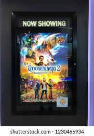 Kuala Lumpur, Malaysia, 1st November 2018 - Beautiful standee of a movie Goosebumps 2 Haunted Halloween display at cinema theater.