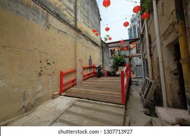 Kuala Lumpur, Malaysia 2 Feb 2019 : Street scene at Lorong or Jalan Panggung in Kuala Lumpur that has historical origin since more than 200 years.