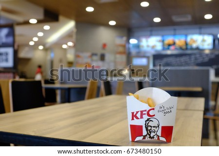 Kuala Lumpur, Malaysia 2 July 2017 : Close up of Kentucky Fried Chicken (KFC) fries pack.  KFC, is an American fast food restaurant chain that specializes in fried chicken.